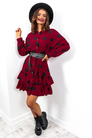 Spot To Love Ya - Wine Spot Frill Hem Shirt Dress