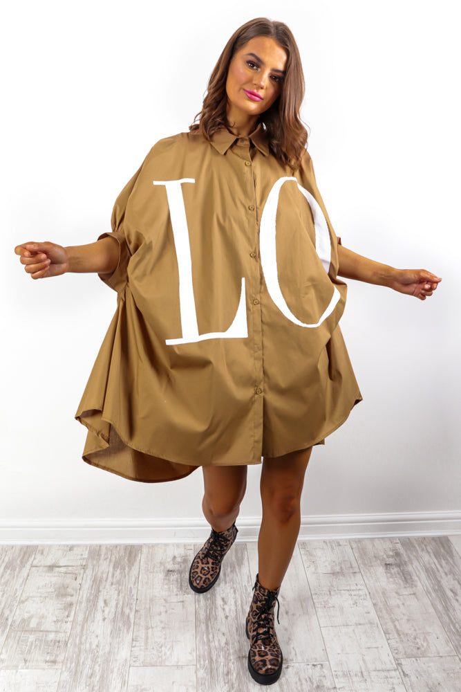 Spread The Love - Camel Shirt Dress