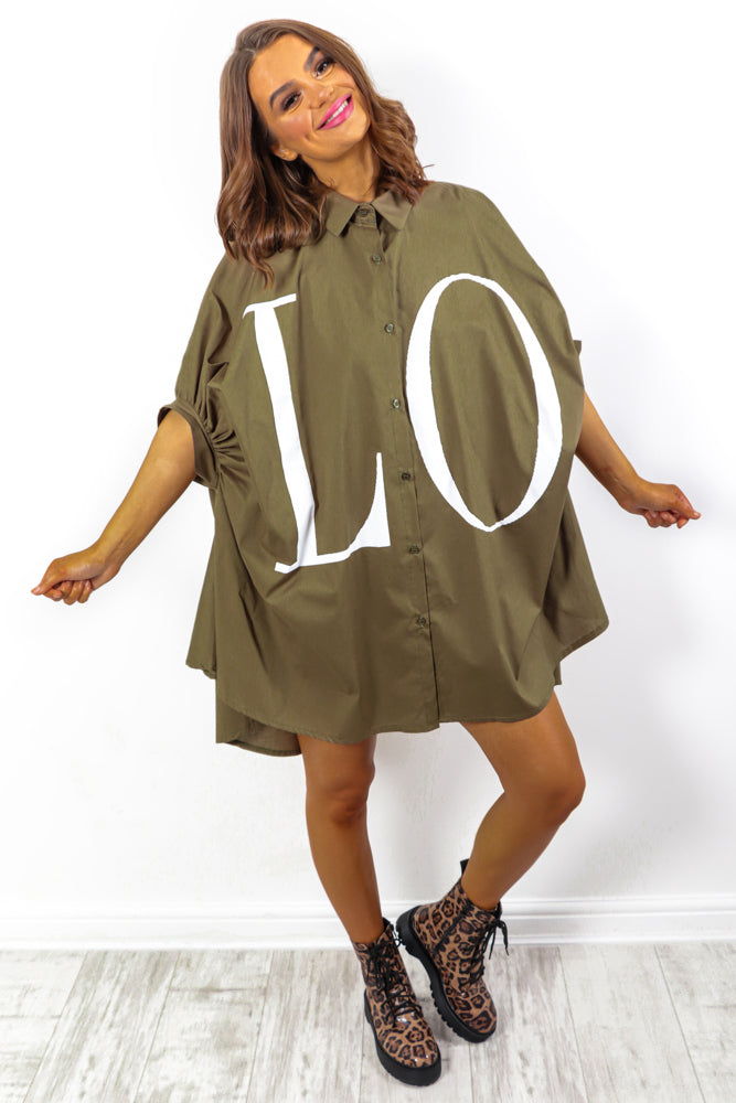 Spread The Love - Khaki Shirt Dress