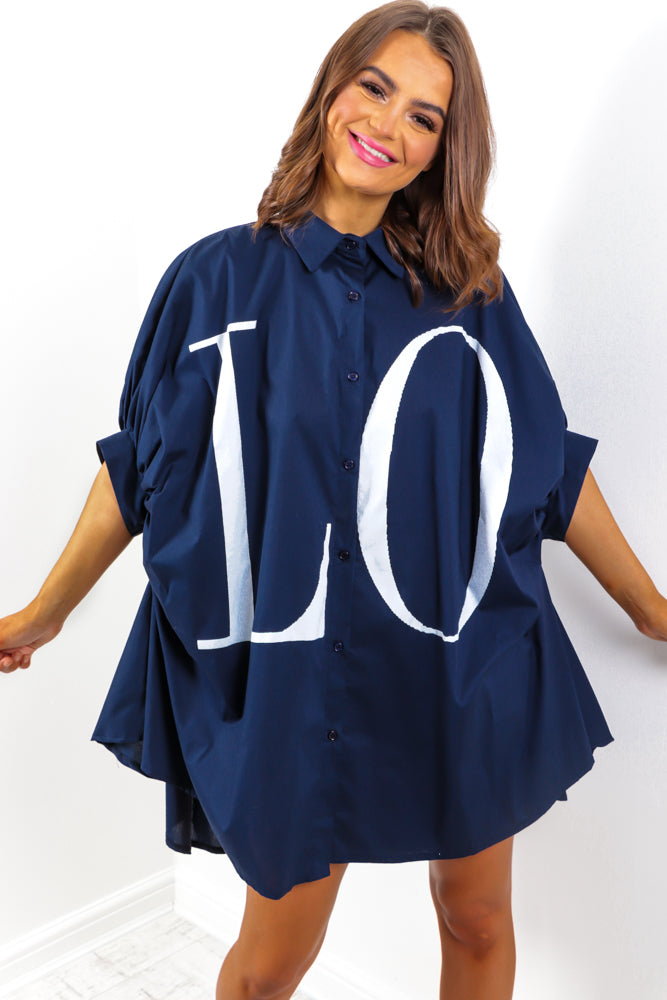 Spread The Love - Navy Shirt Dress