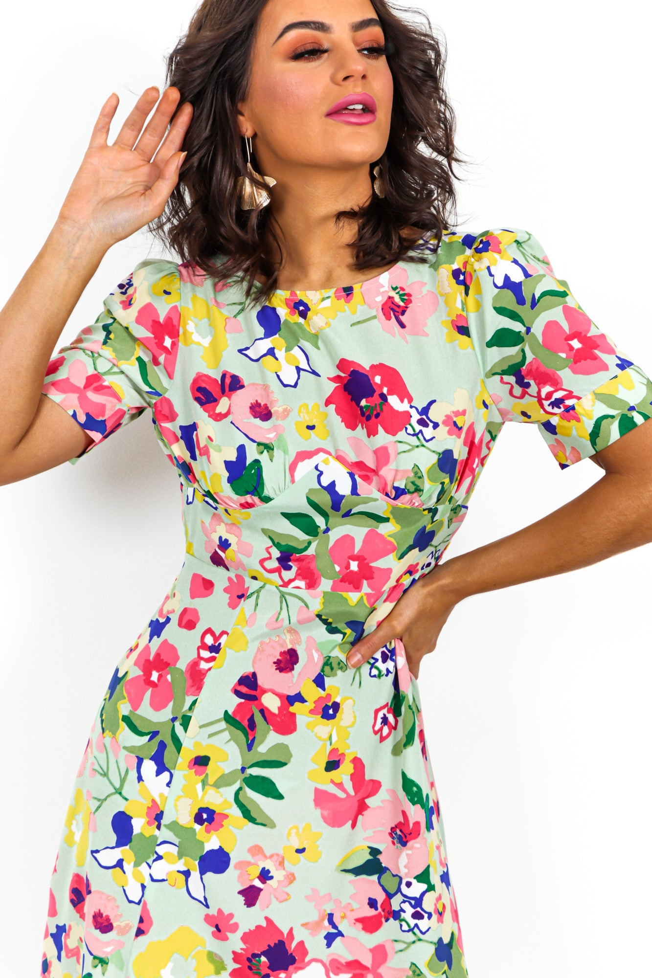 Spring It On - Dress In GREEN/FLORAL