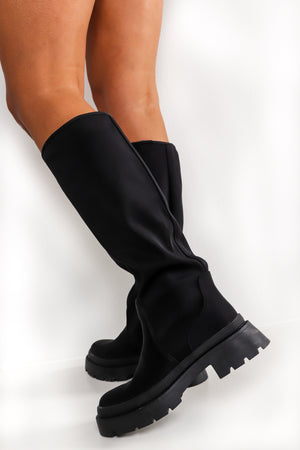 Stand Back - Black Knee High Boots