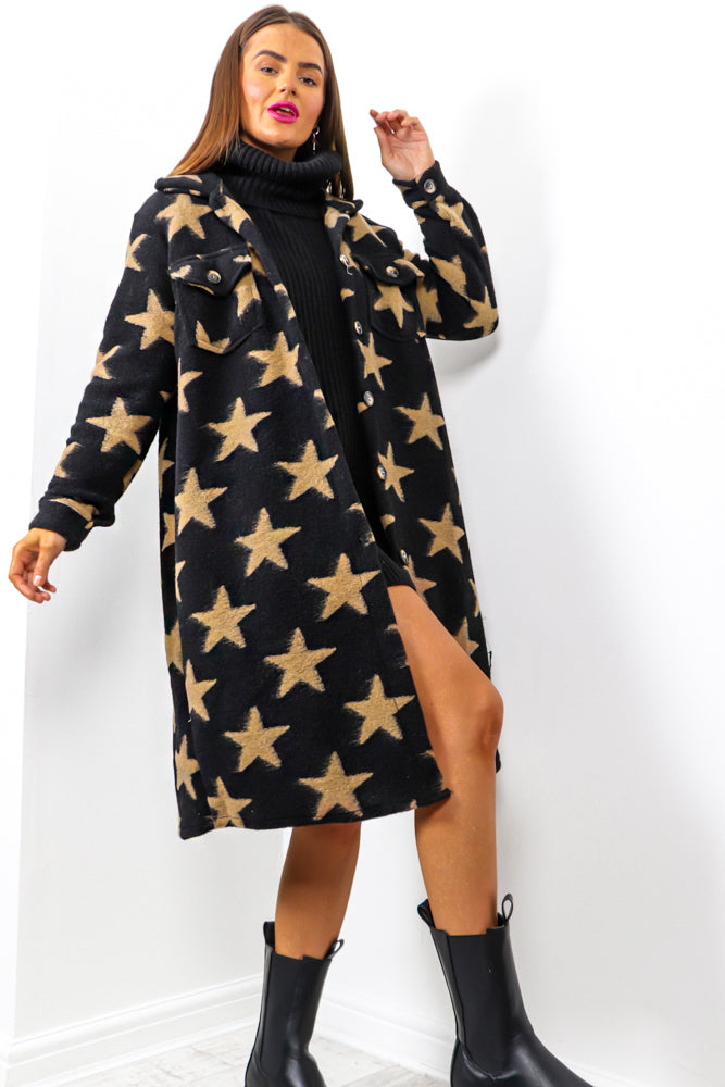 Star Of Night - Black Tan Star Print Shacket