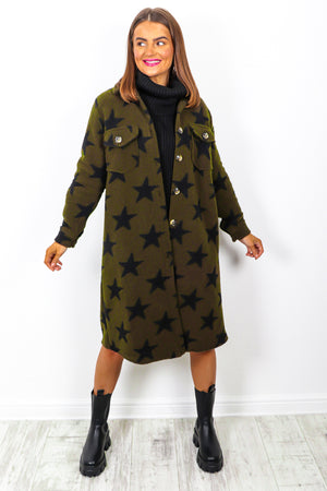 Star Of Night - Khaki Black Star Print Shacket