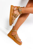 Step Down - Camel Silver Eyelet Sandals