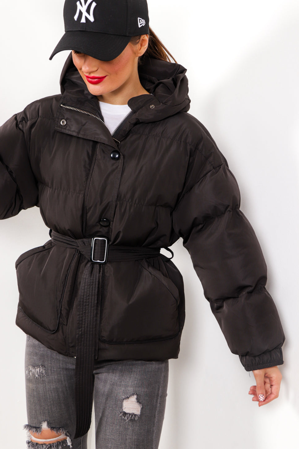 Street Style - Black Belted Puffer Coat