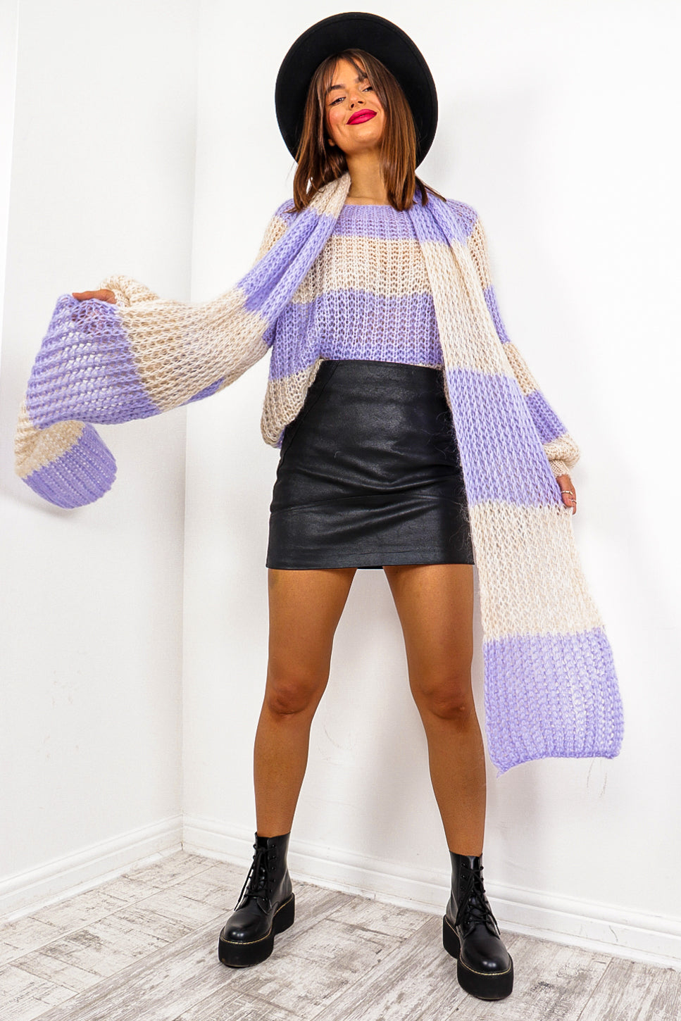 Stripe Dream - Lilac Cream Knitted Co-ord#