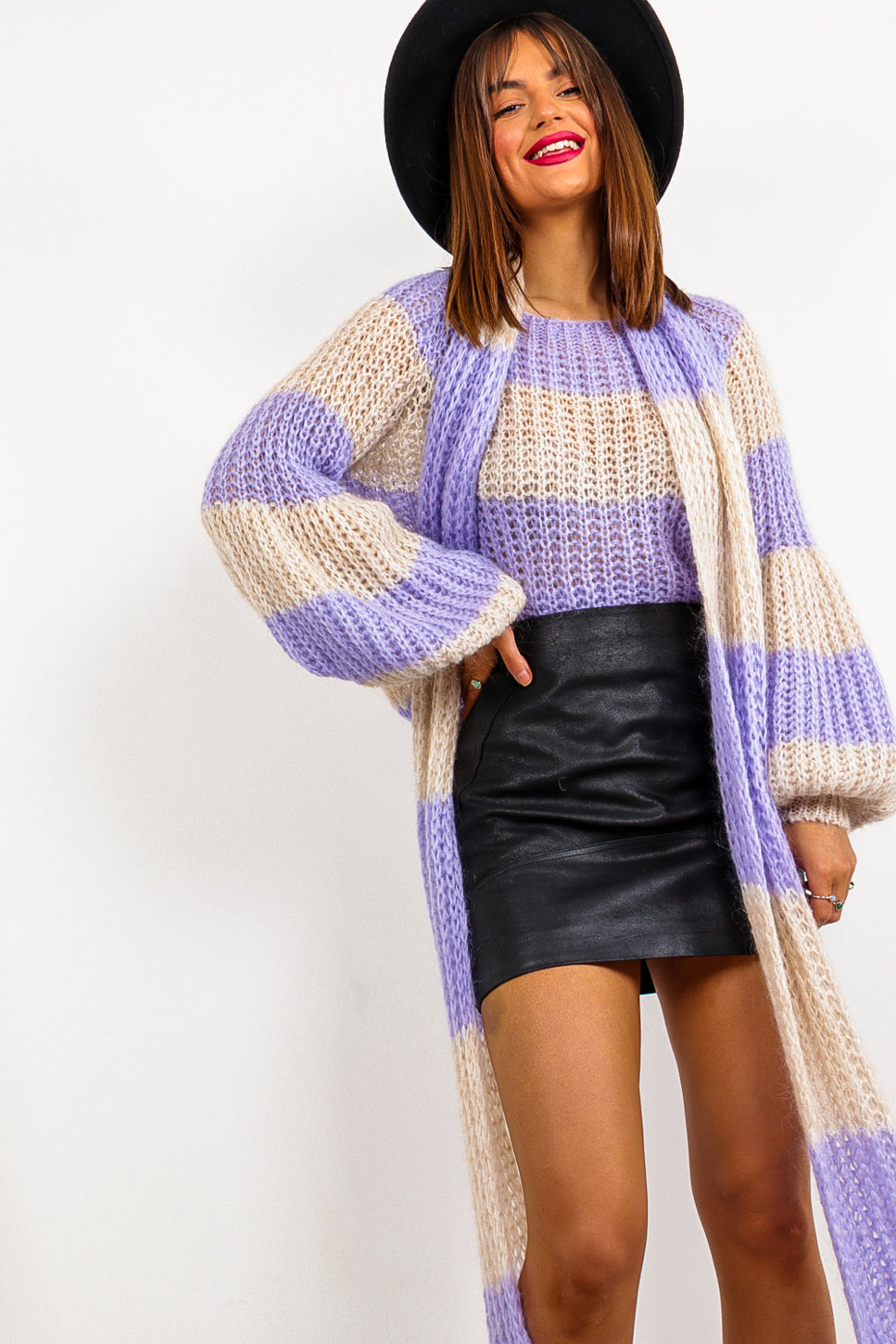 Stripe Dream - Lilac Cream Knitted Co-ord