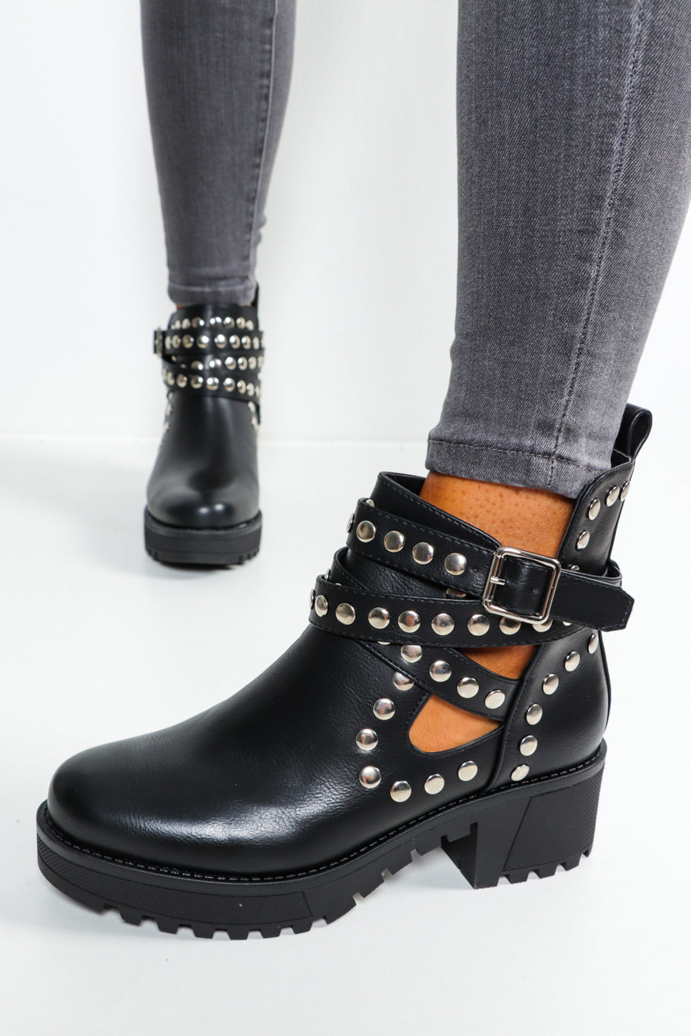 Stud Intentions - Black Cut Out Ankle Boots