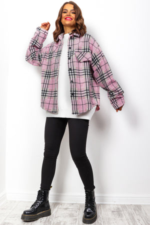 Such A Vibe - Pink Black Check Shacket