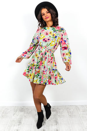Summer Of Love - Dress In GREEN/FLORAL