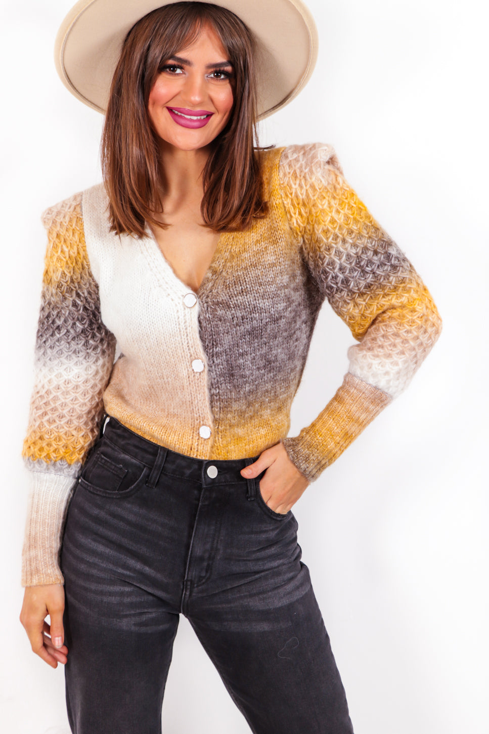 Sunset State Of Mind - Mustard Ombre Knitted Cardigan