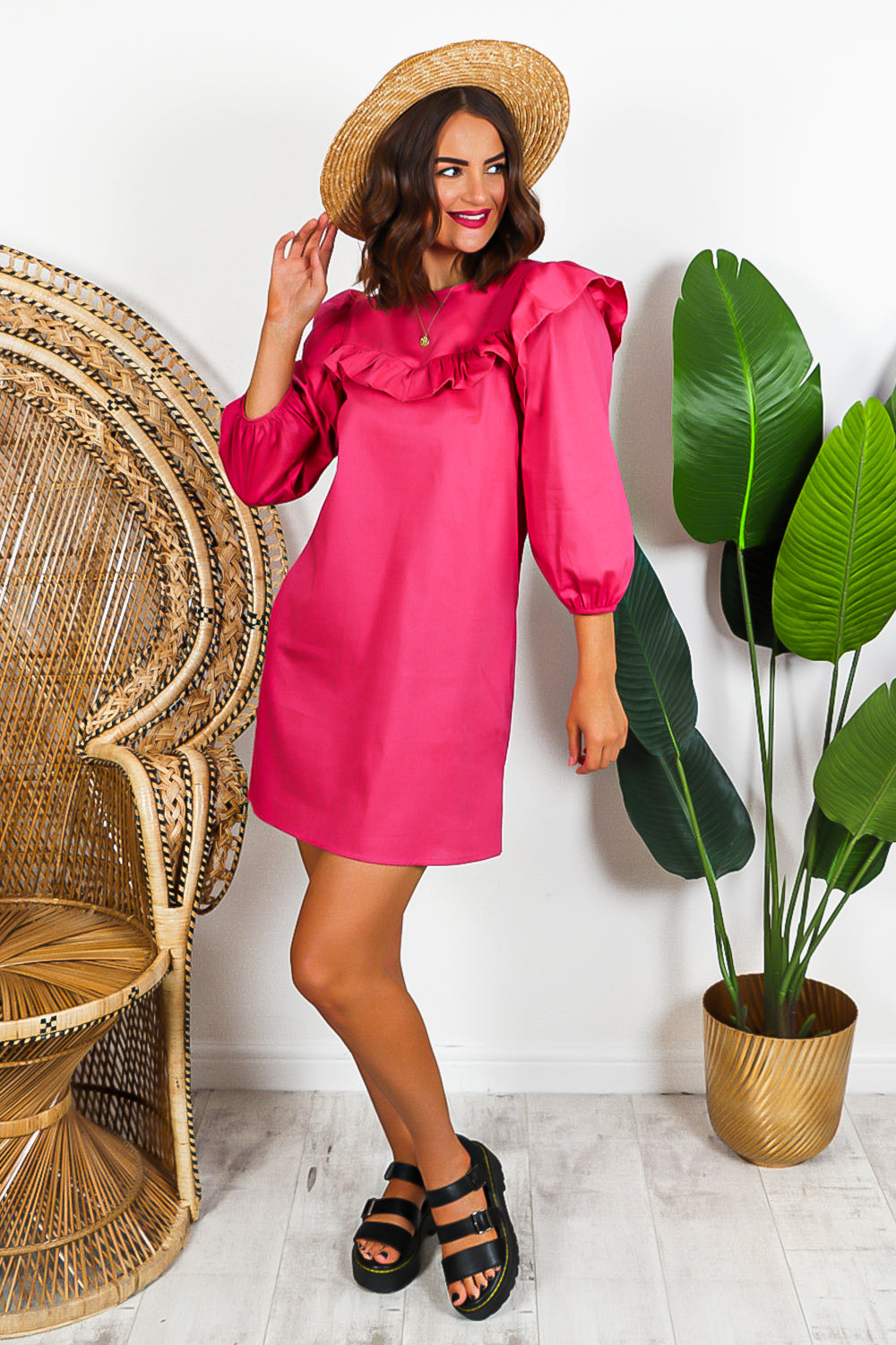 Hot Pink Long Sleeve Ruffled Mini Dress