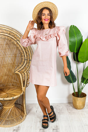 Pink Long Sleeve Ruffled Mini Dress