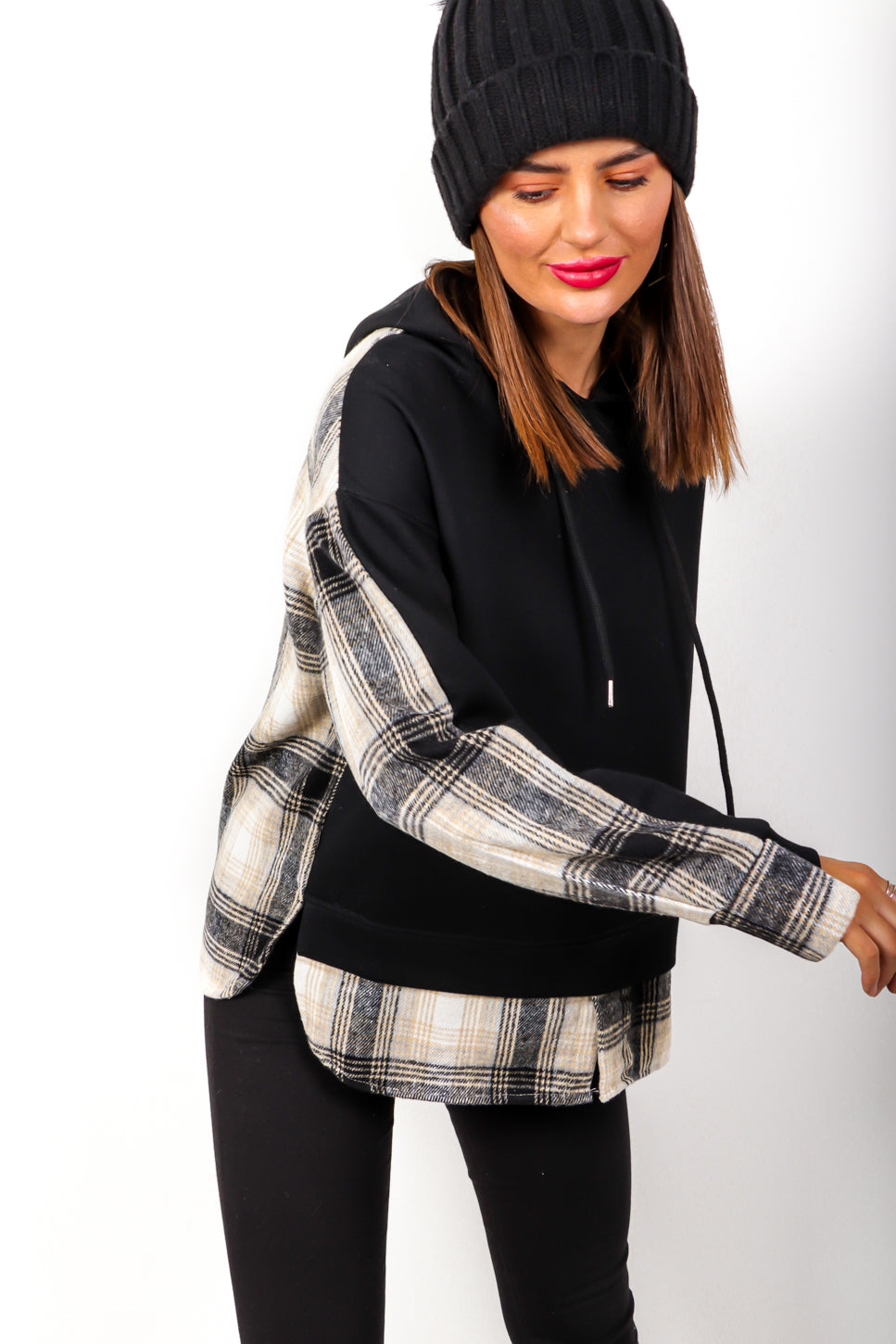 Switch It Up - Black Checked Shirt Hoodie