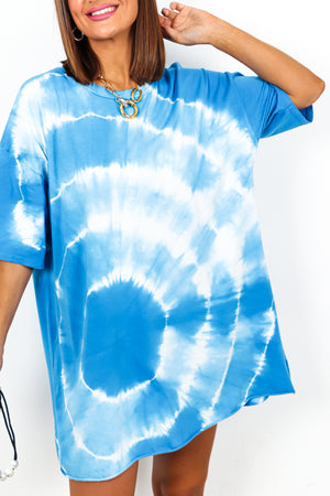 Blue Tie Dye Swirl T-shirt Dress DLSB Womens Fashion