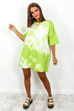 Lime Tie Dye Swirl T-shirt Dress DLSB Womens Fashion