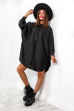 Take A Sleek Peak - Black Shirt Dress