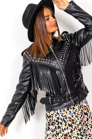Tell Me About It Stud - Black Faux Leather Jacket