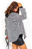 Tell The Tooth - Black White Houndstooth Shacket