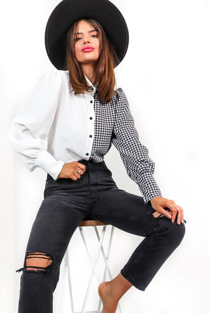 Tell Us The Tooth - Black White Houndstooth Shirt