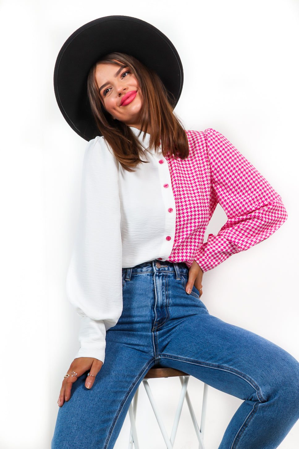 Tell Us The Tooth - Pink White Houndstooth Shirt