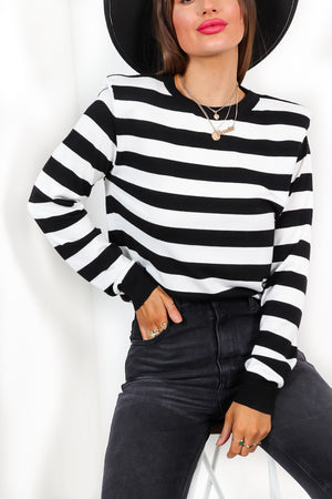 Thats My Stripe - Black White Knitted Jumper