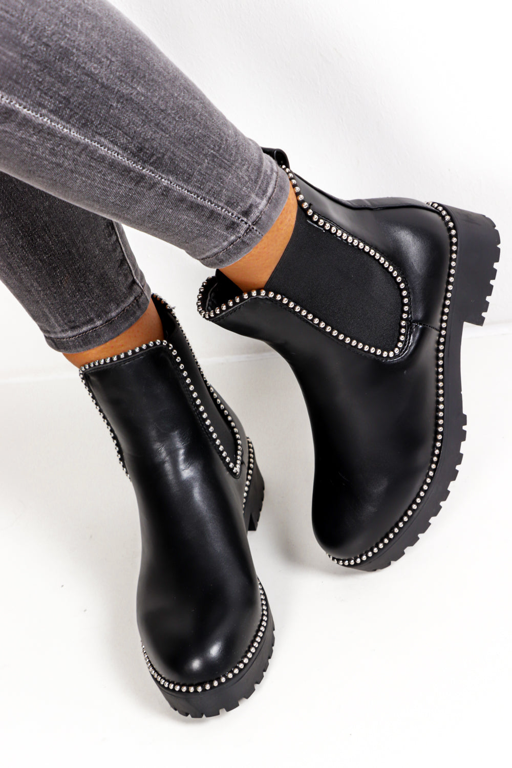 The Run Down  - Black PU Ankle Boot