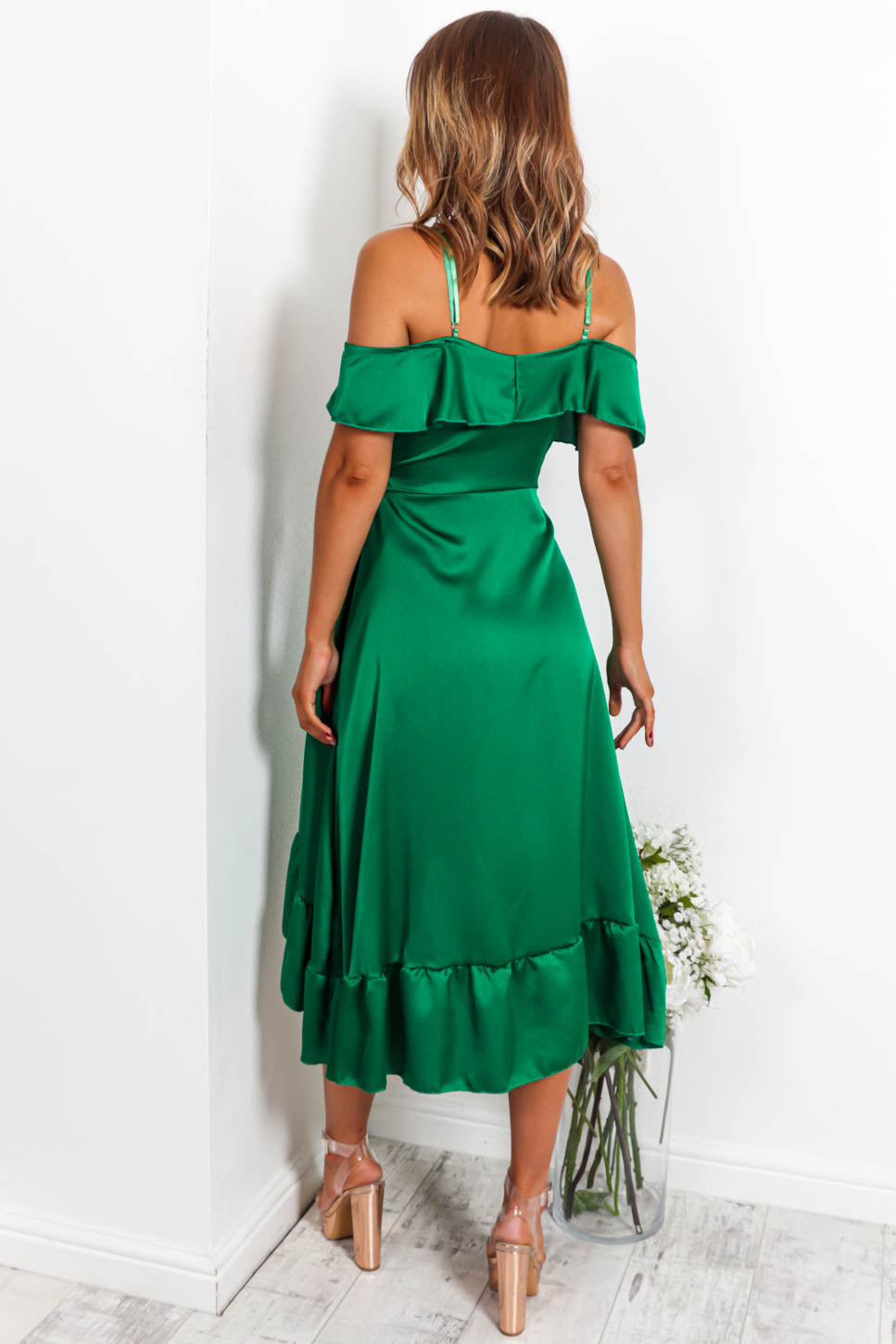 The Hot List - Midi Dress In GREEN/SATIN