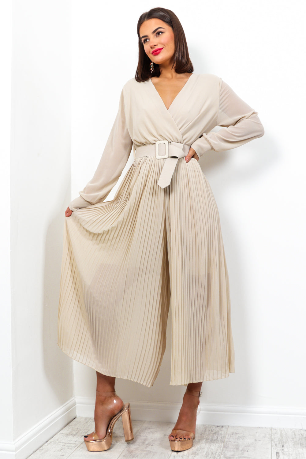 The Pleat Is On - Jumpsuit In BEIGE