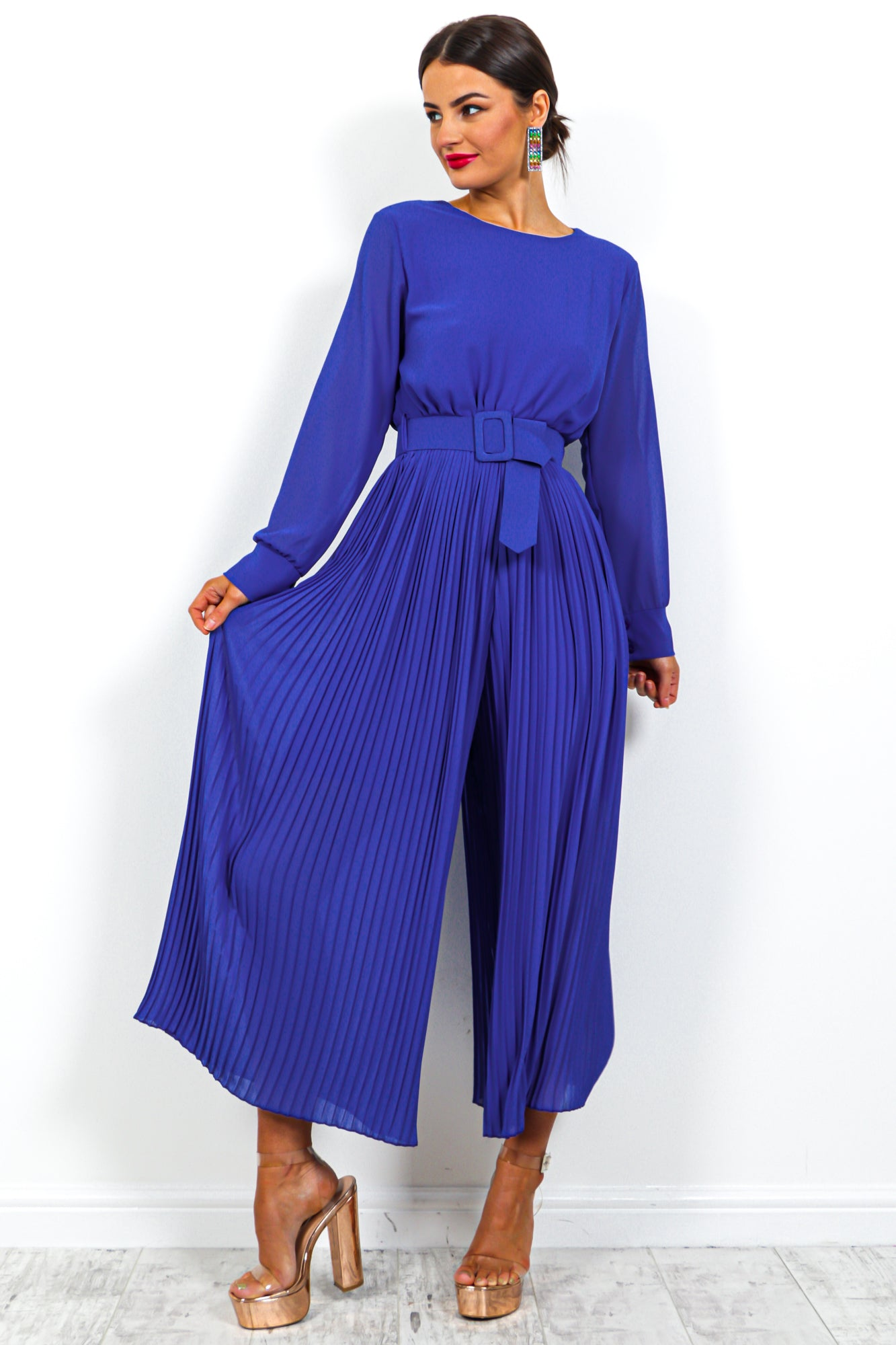 The Pleat Is On - Jumpsuit In COBALT
