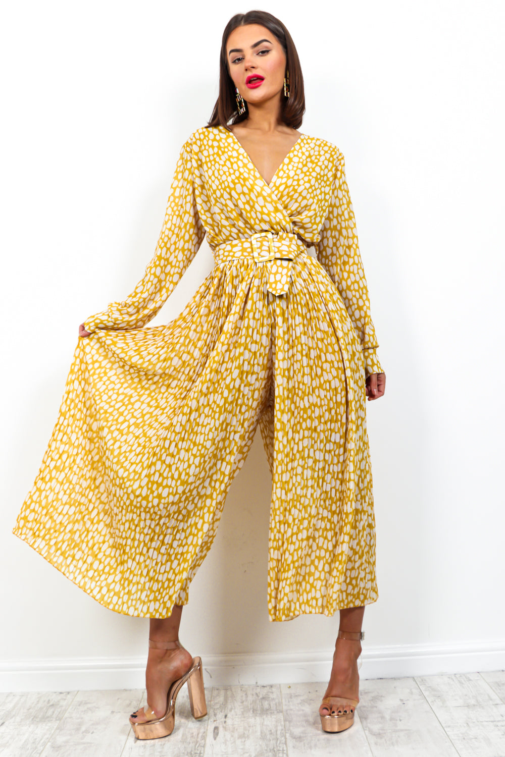 The Pleat Is On - Jumpsuit In MUSTARD/PRINT