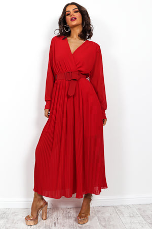 The Pleat Is On - Jumpsuit In RED