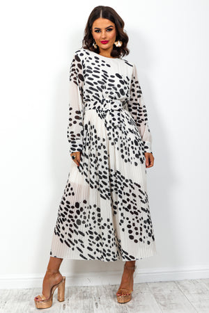 The Pleat Is On - Jumpsuit In WHITE/SPOT