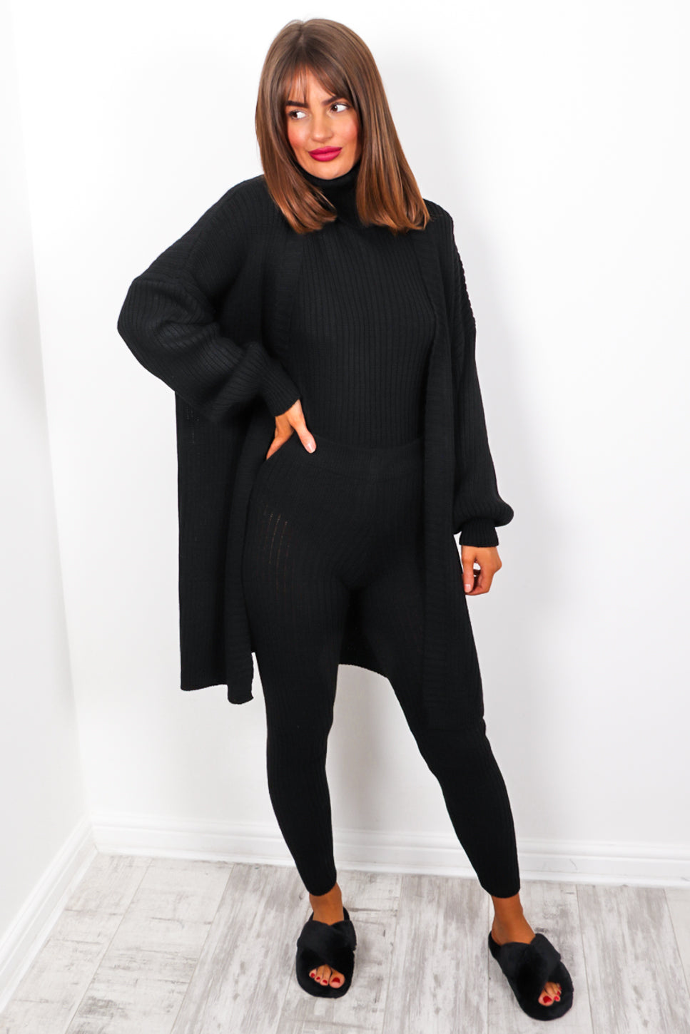 Third Time Lucky - Black Knitted Three Piece Set