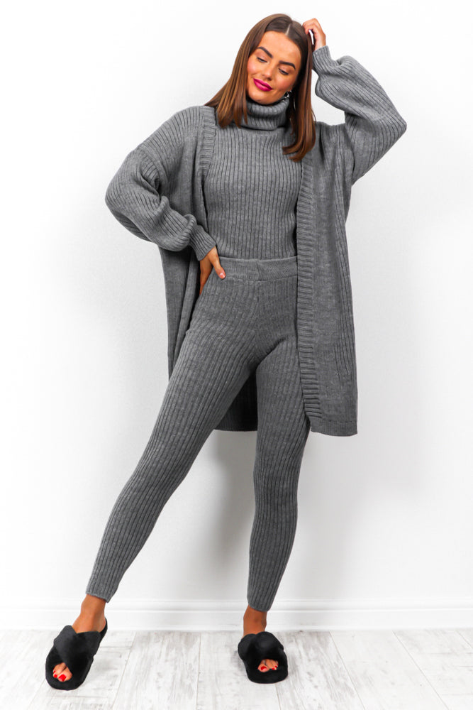 Third Time Lucky - Charcoal Knitted Three Piece Set