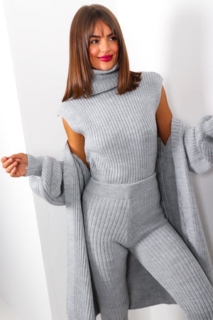 Third Time Lucky - Grey Knitted Three Piece Set