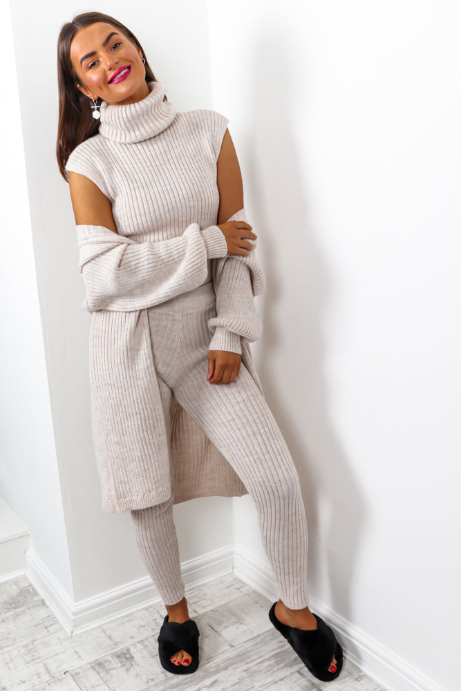 Third Time Lucky - Oatmeal Knitted Three Piece Set