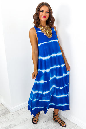 Blue Tie Dye Oversized Dungaree Style Midi Dress DLSB Womens Fashion