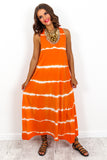 Orange Tie Dye Oversized Dungaree Style Midi Dress DLSB Womens Fashion