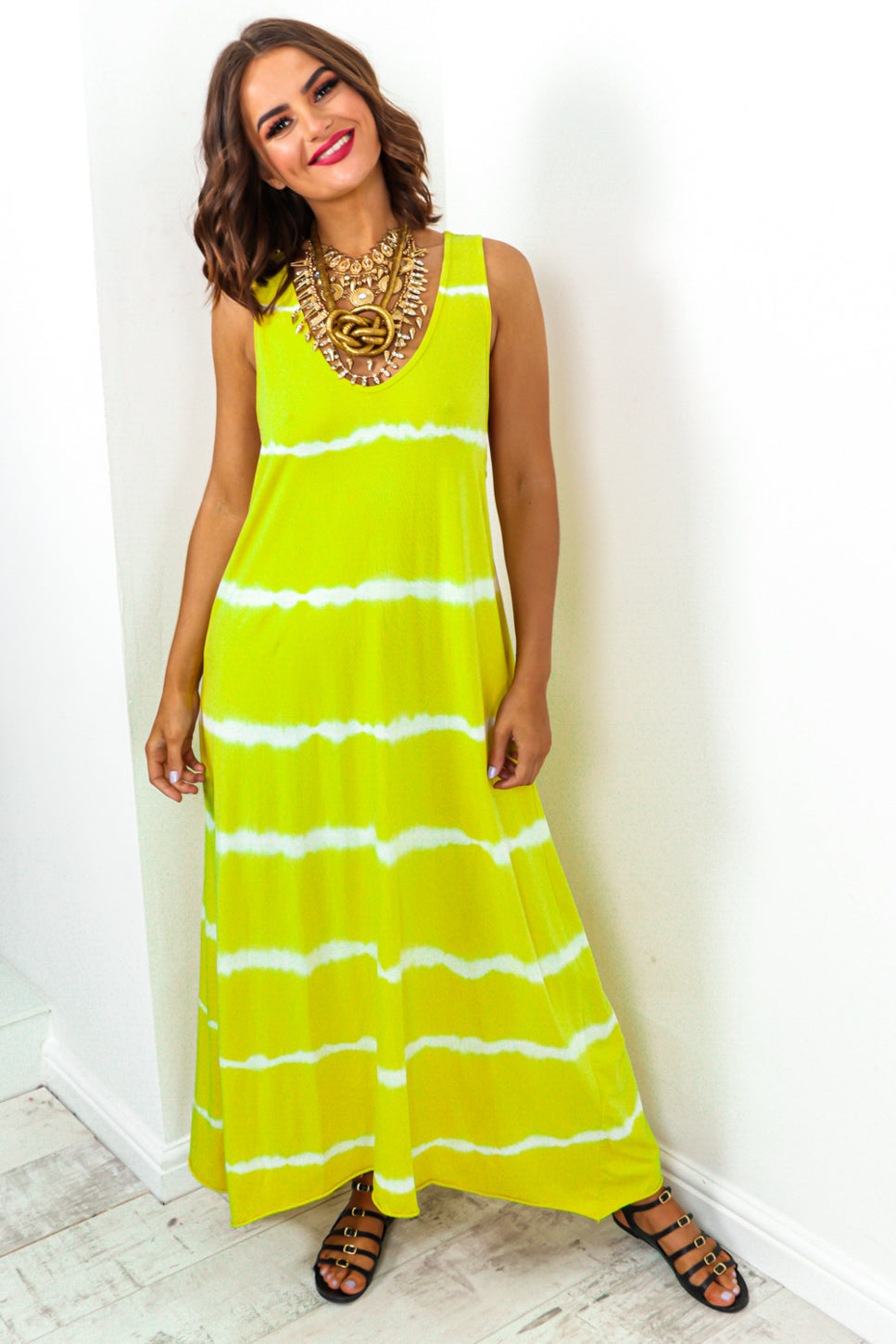 Oversized Maxi Dress Lime Tie-dye print