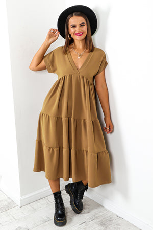 Tier And Now - Camel Midi Dress