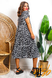 Tier And Now - Grey Leopard Print Midi Dress