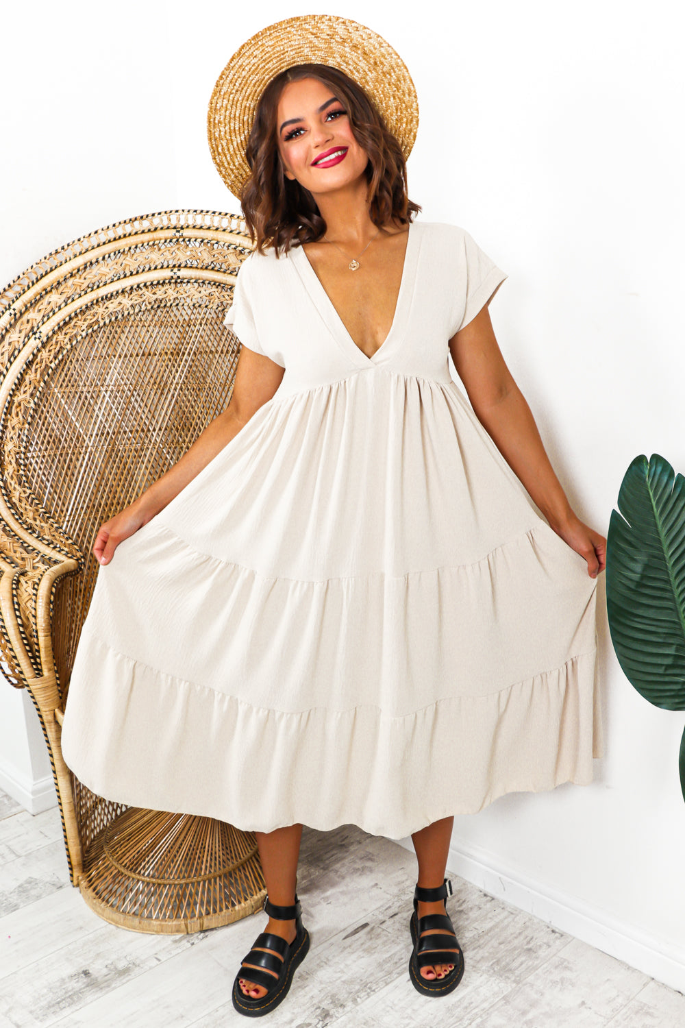 Tier Dress Beige- DLSB Womens Fashion