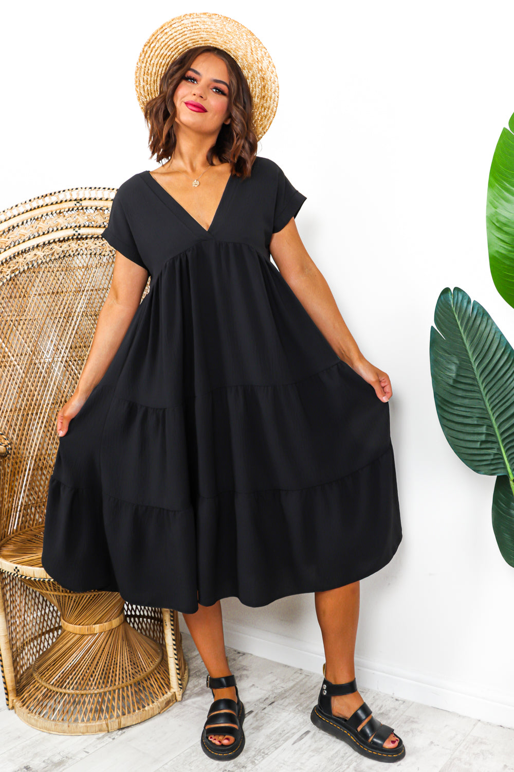 Tier Dress Black- DLSB Womens Fashion