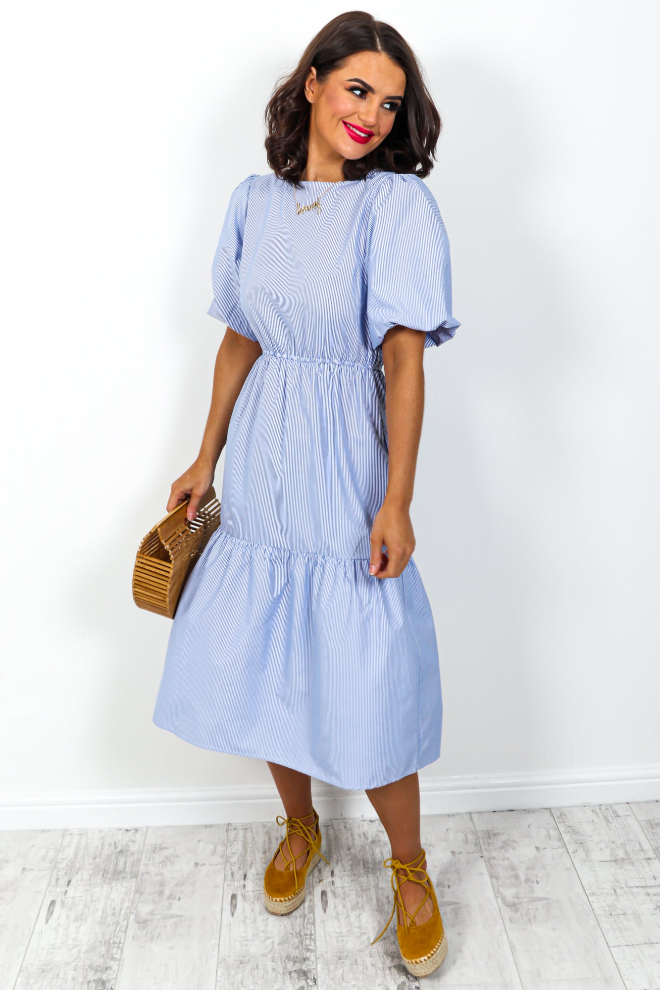 Tier Comes the Sun - Dress In BLUE/PINSTRIPE