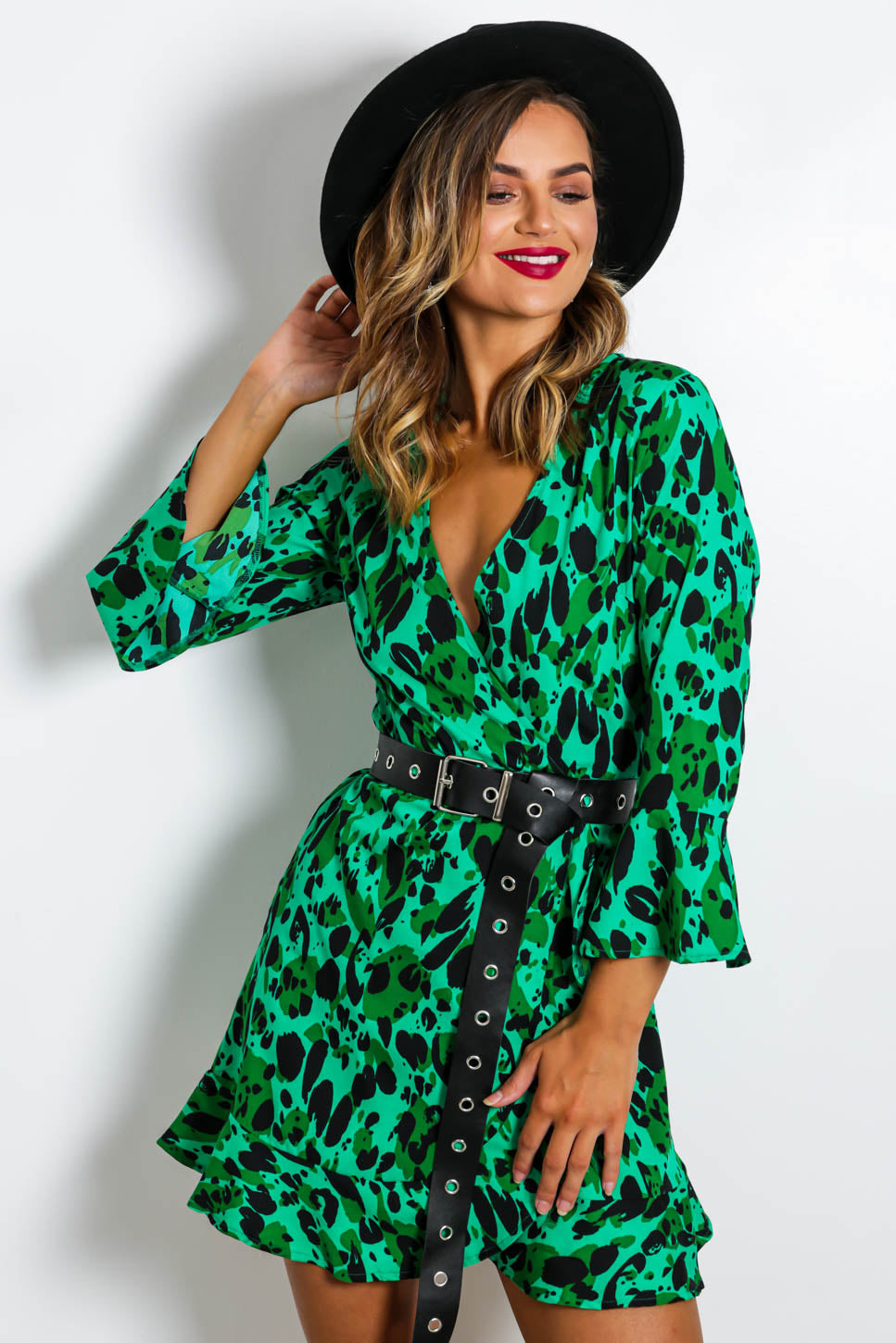 To Tie For - Wrap Dress In GREEN/LEOPARD