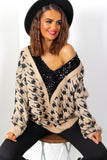 Tooth Be Told - Beige Houndstooth Knitted Jumper