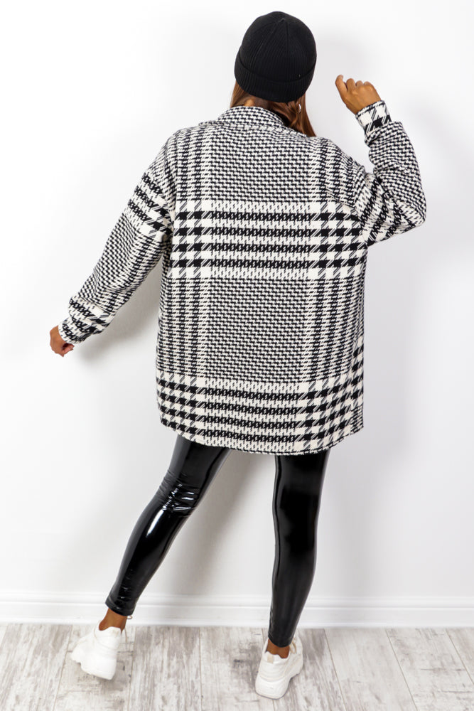 Tooth Or Dare - Black White Houndstooth Shacket