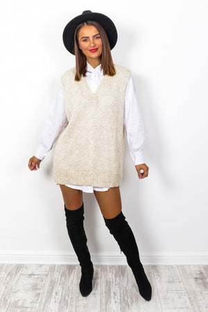 Totally Clueless - Beige 2 in 1 Knitted Vest And Shirt